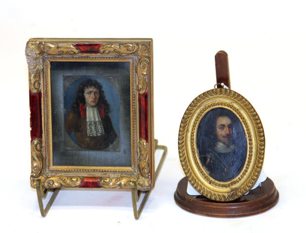 Two framed oil on copper portraits of King Charles I (1600-1649) and 17th century gentleman 19th century