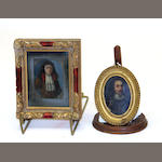 Two framed oil on copper portraits of King Charles I and 17th century gentleman 19th century