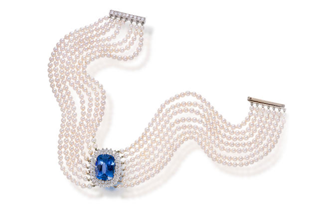 A sapphire, cultured pearl and diamond necklace