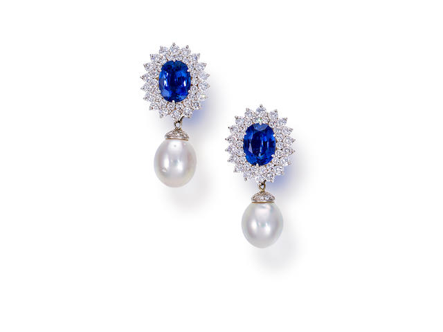A pair or sapphire, South Sea cultured pearl and diamond day/night earclips