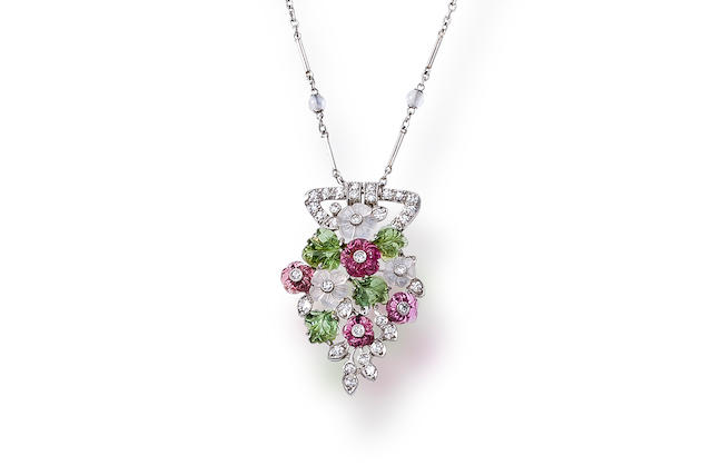 A diamond and gem-set pendant necklace