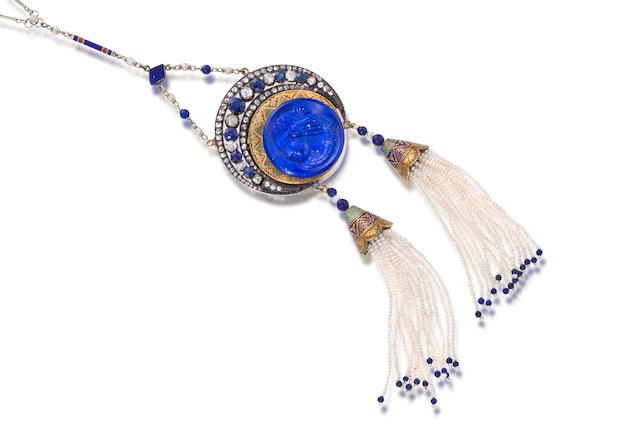 An enamel, lapis and gem-set pendant necklace