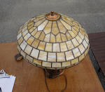 A Duffner and Kimberly and Pairpoint leaded glass and patinated metal Geometric table lamp first quarter 20th century