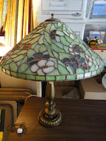 A Bigelow and Kennard leaded glass and gilt metal table lamp first quarter 20th century