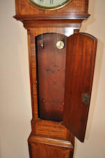 A George III mahogany inlaid tall case clock The dial inscribed David Downe, Edinburgh early 19th century