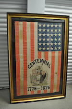 A printed thirty-six star Centennial flag with Lady Columbia<BR />circa 1876