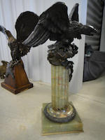 A Federal style cast and patinated bronze eagle on a green onyx stand late 19th century