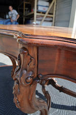 A Victorian carved mahogany two-drawer center table<BR />second half 19th century