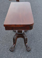 A Classical carved mahogany lyre base card table Boston area, first quarter 19th century