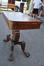 A Classical carved mahogany lyre base card table<BR />Boston area, first quarter 19th century