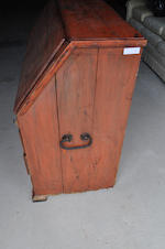 A Continental orange paint decorated slant front secretaire first half 19th century