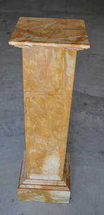 Two pairs of contemporary yellow or green marble pedestals