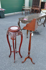 A Federal style mahogany lectern stand and a Chinese Export carved wood and marble inset tall stand<BR />20th century
