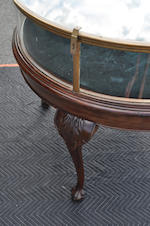 A Chippendale style mahogany and brass circular table vitrine<BR />late 19th/early 20th century
