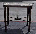 A Sheffield silver plated two handled tray on a later George III style mahogany stand the tray late 19th century