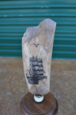 A scrimshaw piece of bone depicting a ship<BR /> 20th century 6-1/4 in. (15.8 cm.) length of bone. 2