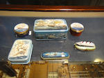 A group of six Russian and English enamel boxes<BR /> Modern, 20th century Various sizes 6
