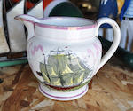 "A pearlware ""Liverpool"" jug  mid-19th century 4-1/2 in. (11.5 cm.) height."