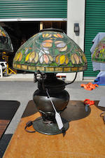 A Tiffany Studios patinated bronze table  lamp base<BR />first quarter 20th century