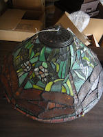 A contemporary leaded glass and patinated metal Dragonfly table lamp