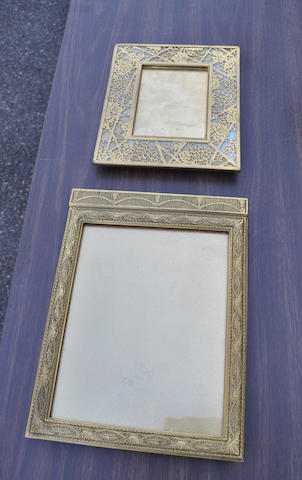 Two Tiffany Studios gilt bronze picture frames<BR />first quarter 20th century