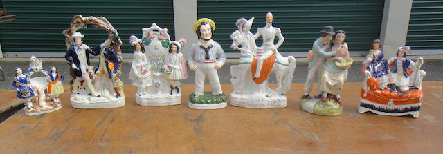 Seven Staffordshire figures or figural groups<BR />early 20th century