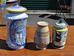 Six Italian glazed earthenware various storage jars or jardinieres