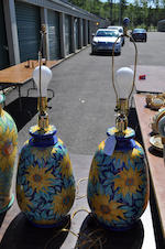 Five Italian glazed earthenware similar storage jars or table lamps
