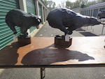 A pair of patinated bronze running bears<BR />by Forest Hart (American, born 1943)