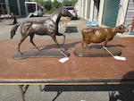 Two patinated bronze sculptures of a horse and cow<BR />late 20th century