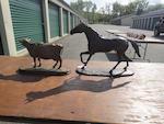 Two patinated bronze sculptures of a horse and cow late 20th century