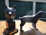 Two patinated bronze sculptures of a spaniel and a bear head<BR />by Forest Hart (American, b. 1943)
