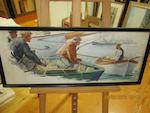 Anton Otto Fischer (American, 1882-1962) Fishermen in port 12 x 30 in (30.5 x 76.2cm)