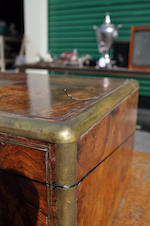 A Victorian brass inlaid burlwood laptop writing desk<BR />mid-19th century