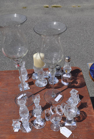 Twenty-four clear glass table articles<BR />20th century