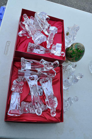 Seventeen Waterford leaded glass figures from the Nativity Collection<BR />20th century