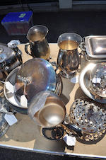 A large miscellaneous group of English and American silver-plated serving and table articls