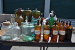 Forty glass or glazed ceramic cellarette bottles or apothecary items<BR />mid-19th century and later