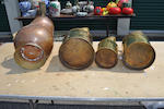 A set of three brass measures 100-200-300 oz and a copper coal scuttle with tin glazed ceramic handles
