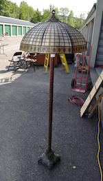 A Handel slag glass and patinated metal Geometric floor lamp <BR /> first quarter 20th century