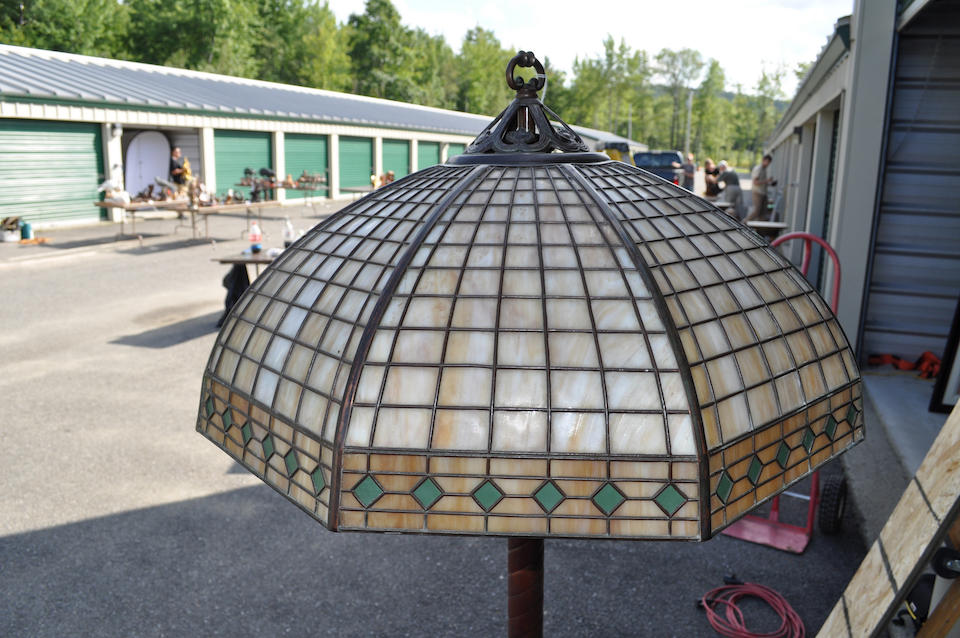 A Handel slag glass and patinated metal Geometric floor lamp   first quarter 20th century