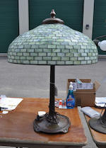 A Tiffany Studios Favrile glass and patinated bronze Geometric table lamp<BR />first quarter 20th century