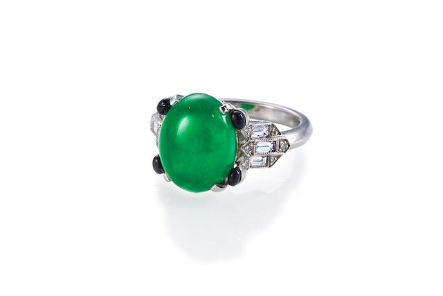 An art deco jadeite jade and diamond ring,