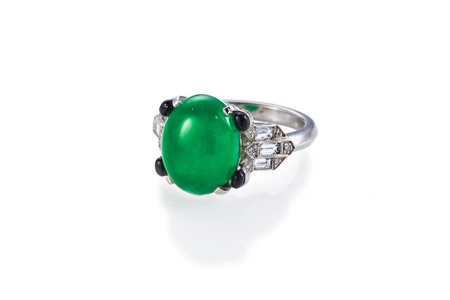 An art deco jadeite jade and diamond ring,