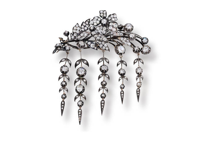 An antique diamond brooch, French,