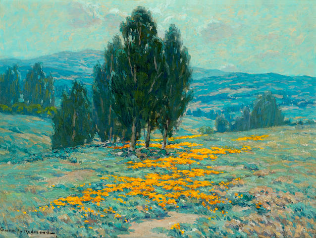 Granville Redmond (American, 1871-1935) California landscape with poppies and eucalyptus 12 x 16in