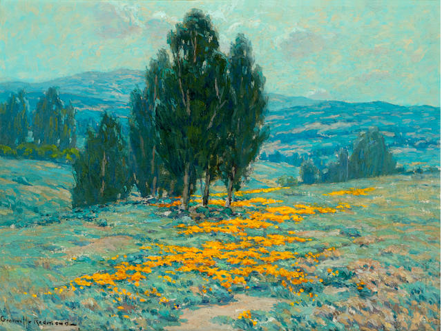 Granville Redmond (American, 1871-1935) California landscape with eucalyptus trees and poppies 12 x 16in