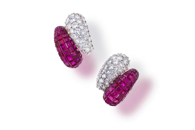 A pair of ruby and diamond earclips,