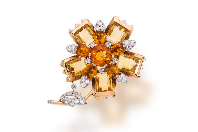 A retro citrine and diamond brooch, Cartier,