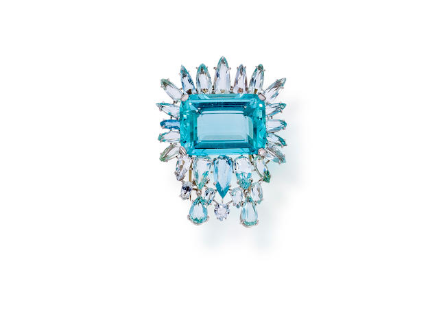 An aquamarine brooch